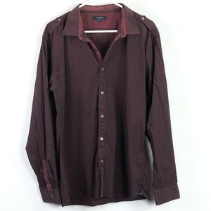 Ted Baker striped maroon black button front Shirt
